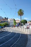 Street in an old European city, Lisbon Royalty Free Stock Images