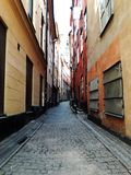 Street of old european city, Stockholm, Sweden, summer royalty free stock photography