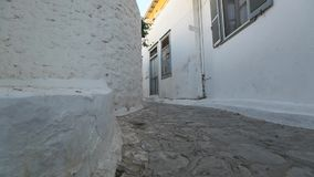 Street of the old Greek town. Paving in old city stock video