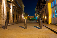 Street in Old Havana illuminated at night Royalty Free Stock Photos