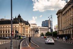 Street of old historic town Bucharest stock photos