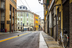 Street with old historical buildings. In Parma, Italy Royalty Free Stock Photo