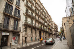 Street with old houses. Barcelona. Spain. royalty free stock photo