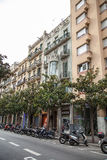 Street with old houses. Barcelona. Spain. royalty free stock photography