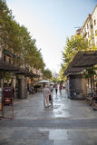 Street with old houses. Barcelona. Spain. stock photos