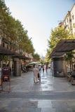 Street with old houses. Barcelona. Spain. Stock Photos