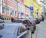 Russia. Moscow. editorial A fragment of the street   Street with old houses and cars Royalty Free Stock Image