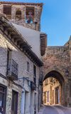 Street with old houses in the center of Atienza Royalty Free Stock Photography