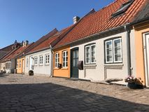 Street with old houses, Denmark Royalty Free Stock Photos