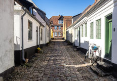 Street with old houses from Ribe in Denmark Stock Photography