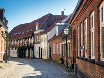 Street with old houses from Ribe in Denmark Royalty Free Stock Photo