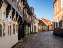 Street with old houses from Ribe in Denmark Royalty Free Stock Image