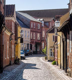 Street with old houses from Ribe in Denmark Stock Images