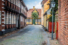 Street with old houses from royal town Ribe in Denmark Stock Image