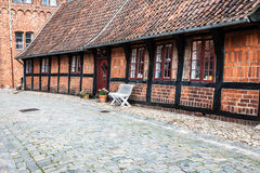 Street with old houses from royal town Ribe in Denmark Royalty Free Stock Photography