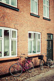 Street with old houses from royal town Ribe in Denmark Stock Photos