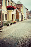 Street with old houses from royal town Ribe in Denmark Stock Images