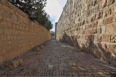 The street in the old Jerusalem. The narrow street in the old quarters of the eternal Jerusalem Stock Images