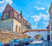 The way to the medieval church in old Krakow, Poland royalty free stock image