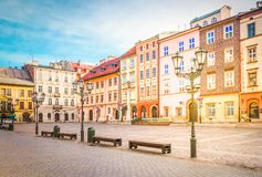 Street in old Krakow, Poland. Old town square Maly Rynek in old town of Krakow, Poland, retro toned royalty free stock images