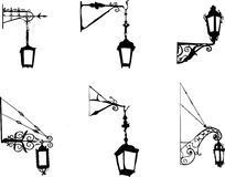 Street old lamps vector Royalty Free Stock Image