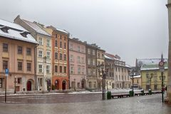 Street in old medieval town of Krakow, Poland Royalty Free Stock Photo