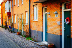 Street with old nice colorful houses in historical center of Malmo. Sweden Stock Images