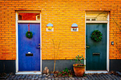Street with old nice colorful houses in historical center of Malmo, Sweden Stock Image