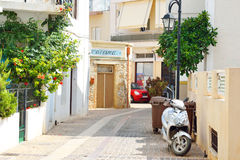 Street in old part of Malia. Royalty Free Stock Photo