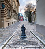 Street in the old Riga city, Latvia Royalty Free Stock Images