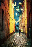 Street of Old Riga at night Royalty Free Stock Photography