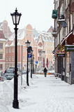 Street of Old Riga in snow day Royalty Free Stock Image