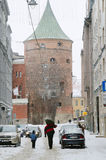 Street of Old Riga in snow day before Christmas Stock Photos