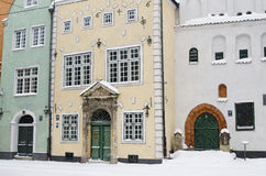 Street of Old Riga in snow day Royalty Free Stock Photos