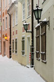 Street of Old Riga in snow day Royalty Free Stock Photo