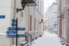 Street of Old Riga in snow day Royalty Free Stock Photography