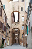 Street of old Siena, Tuscany, Italy Stock Photography
