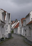 Street in old Stavanger. Street with white houses in the old part of Stavanger Stock Images