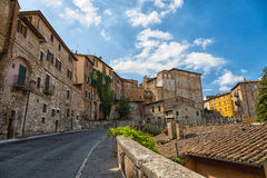 Street with old stone houses in Perugia Royalty Free Stock Photo