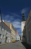 Street of old tallin. Under the blue sky Stock Photo