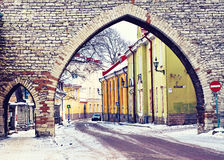 Street of Old Tallinn in winter day, Estonia Royalty Free Stock Images