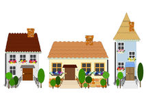 Street of old town. Old buildings on street of old town vector illustration