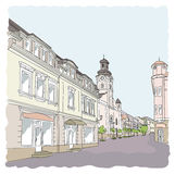Street in the old town. Illustration. Watercolor imitation Stock Illustration