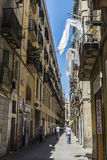 Street of old town of Barcelona Stock Photos