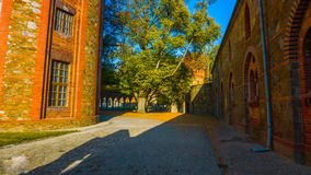 Street in old town : Beautiful autumn in the garden - northern Poland - with a tunnel in the middle of the mountains - with a corr stock photography