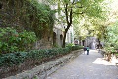 Street of the old town in Bergamo. Bystreet of the old town in Bergamo on a summer day Royalty Free Stock Image