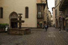 The Old Town in Bergamo, Italy stock photography