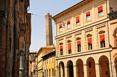 Street in the old town of Bologna, Italy. Street and tower in the old town of Bologna, Italy Stock Images