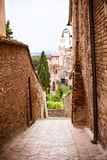 Street in the old town Certaldo, Italy Royalty Free Stock Image