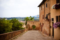Street in the old town Certaldo, Italy Stock Photography